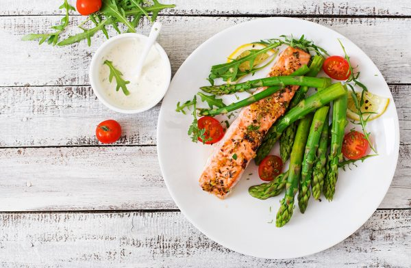 Salmon and Shrimp Thai Fry with Asparagus